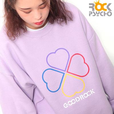 【ROCK PSYCHO】GOODROCK fleece CREW NECK -light purple