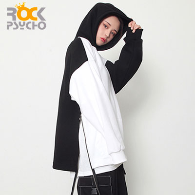 【ROCK PSYCHO】RING ZIPPER HOODIE - white