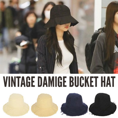 BLACKPINK Jennie st. VINTAGE DAMAGE BUCKET HAT(4color)