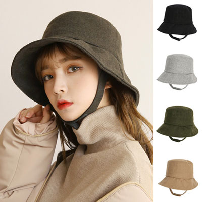 [UNISEX] WOOL STRAP BUCKET HAT (4color)
