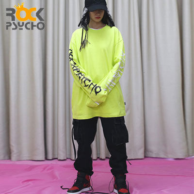 【ROCK PSYCHO】BOTH SIDES LETTERING LONG SLEEVE -neon (2size)