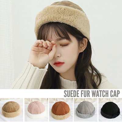 [UNISEX] SUEDE FUR WATCH CAP (5color)