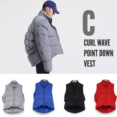 [UNISEX] C CURL WAVE POINT DOWN VEST(4color 3size)