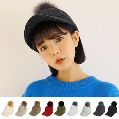 [UNISEX] WOOL 100% POM POM FRAZZLE KNIT HAT(9color)