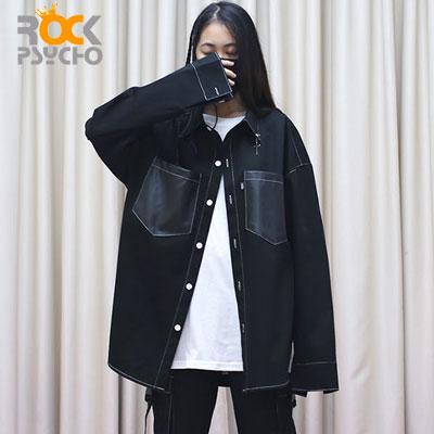【ROCK PSYCHO】CROSS PIERCING POINT SHIRTS -black