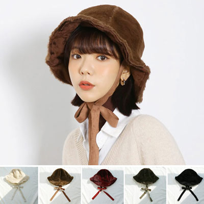 RABBIT FUR STRAP BUCKET HAT (5color)