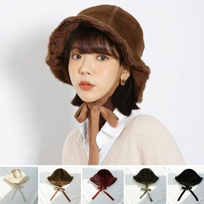 RABBIT FUR STRAP BUCKET HAT (5color)
