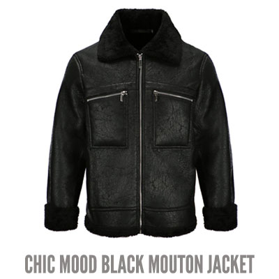 [UNISEX] CHIC MOOD BLACK MOUTON JACKET (2size)