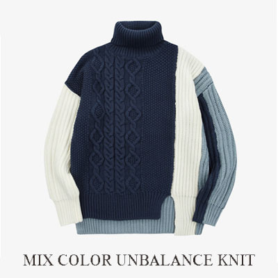 [UNISEX] MIX COLOR POINT UNBALANCE KNIT (2color)