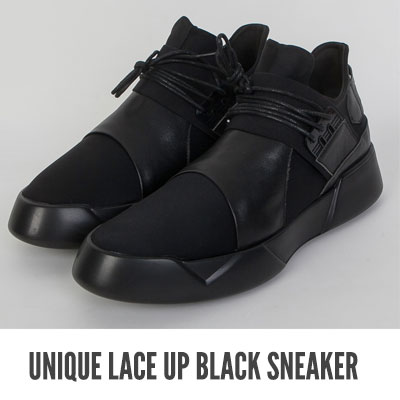 [25.5 ~ 28.0cm] UNIQUE LACE UP BLACK SNEAKER