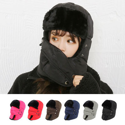 [UNISEX] DOUBLE PADDED FUR MASK HAT (6color)