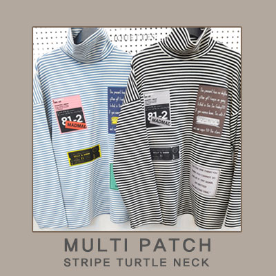 [UNISEX] MULTI PATCH STRIPE TURTLE NECK(2color)
