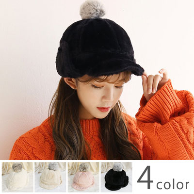 [UNISEX] WARM RABBIT POMPOM HAT (4color)