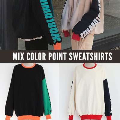 [UNISEX] MIX COLOR POINT SWEATSHIRTS (2color)
