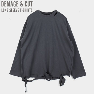 [UNISEX] DAMAGE CUT LONG SLEEVE TSHIRTS (4color)
