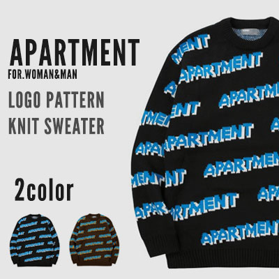 [UNISEX] APARTMENT LOGO PATTERN KNIT SWEATER (2color)