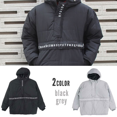 [UNISEX] LOGO POINT PADDED ANORAK HOODIE(2color)