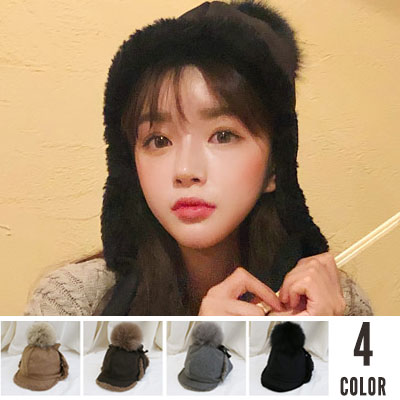[UNISEX] BIG POMPOM EARMUFF HAT(4color)