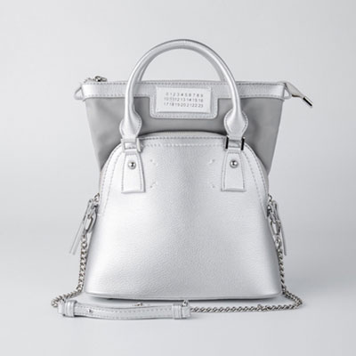 [M-size] DOUBLE BAG st.TOTE BAG & SHOULDER BAG -silver