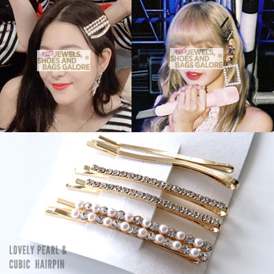 BLACKPINK/JENNIE/LISA/REDVELVET st. LOVELY PEARL CUBIC HAIR PIN (6ea SET)(2color)