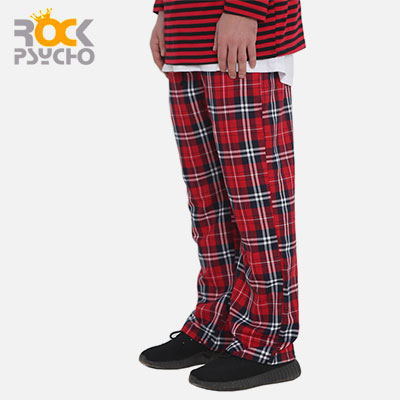 【ROCK PSYCHO】FLANNEL PANTS -red