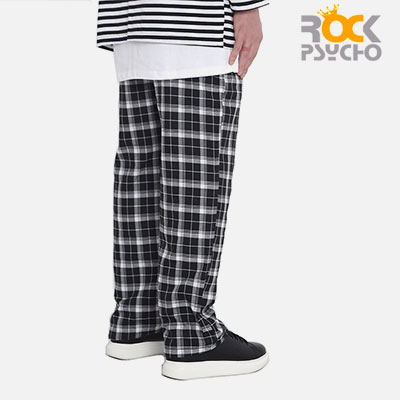 【ROCK PSYCHO】FLANNEL PANTS -black