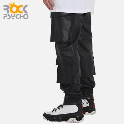 【ROCK PSYCHO】PU CARGO PANTS -black