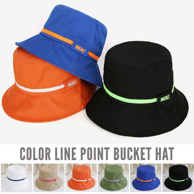 [UNISEX] COLOR LINE POINT BUCKET HAT (6color)