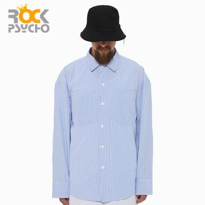 【ROCK PSYCHO】OVERSIZE STRIPE SHIRTS -blue