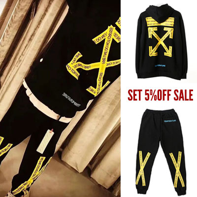 [-5% set SALE][UNISEX] YELLOW ARROW TAPE HOODIE&JOGGER