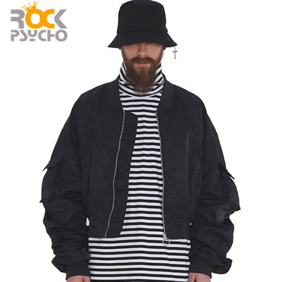 【ROCK PSYCHO】CROP FLIGHT JACKET -black