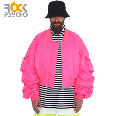 【ROCK PSYCHO】CROP FLIGHT JACKET -pink