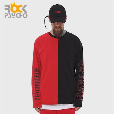 【ROCK PSYCHO】RED BLACK HALF LONG T SHIRTS