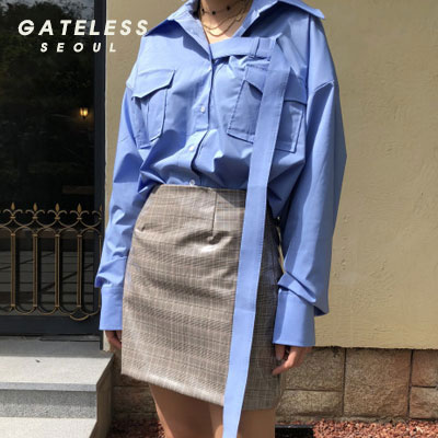 【GATELESS】BELT SHIRTS -blue