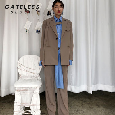 【GATELESS】OVER BELT JACKET -beige