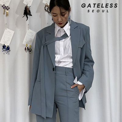 【GATELESS】OVER BELT JACKET -blue