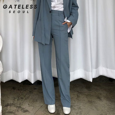 【GATELESS】BELT OVER JACKET SET PANTS -blue