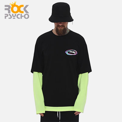 【ROCK PSYCHO】ONLY LAYERED LONG SLEEVE Tshirts -neon pink