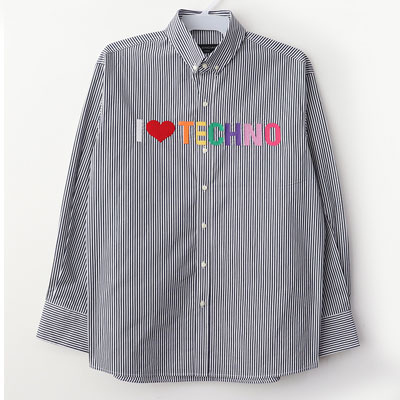 [UNISEX] LOVE MARK EMBROIDERY STRIPE SHIRTS