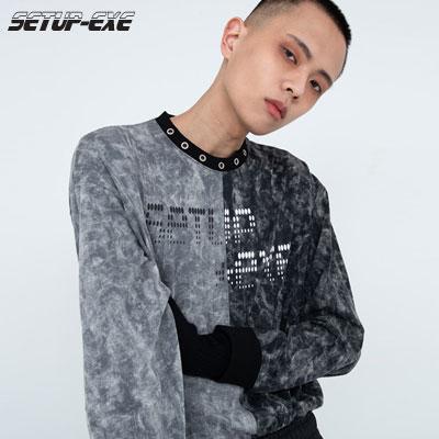 【SETUP-EXE】Neck eyelet T-shirt - black