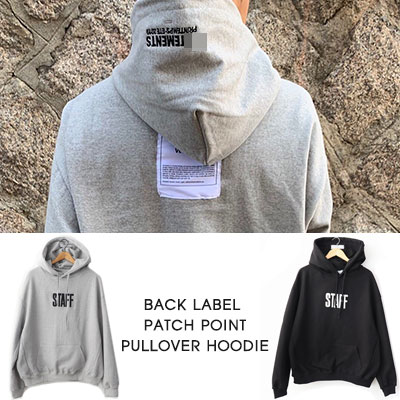 [UNISEX] BACK LABEL PATCH POINT PULLOVER HOODIE (2color)