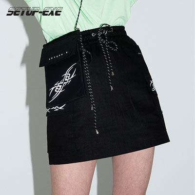 【SETUP-EXE】Cargo mini Skirt -black