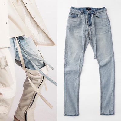 LONG STRAP POINT BLUE DENIM JEANS (3size)