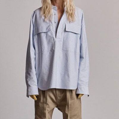 [UNISEX]OVER SIZE BLUE STRIPE BIG POCKET SHIRTS