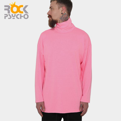 【ROCK PSYCHO】Neon Color Turtleneck Long Sleeve T-shirt-pink