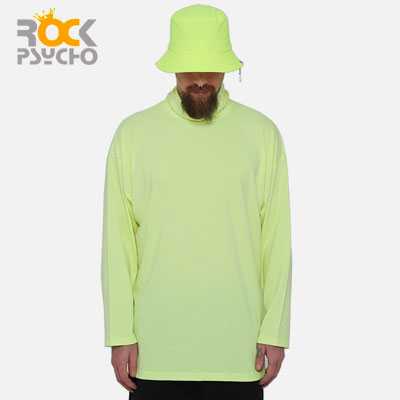【ROCK PSYCHO】Neon Color Turtleneck Long Sleeve T-shirt-neon green