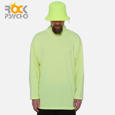 【ROCK PSYCHO】Neon Color Turtleneck Long Sleeve T-shirt-neon green