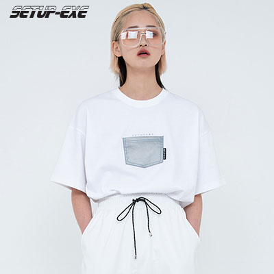 【SETUP-EXE】Reflective pocket T-shirt - White
