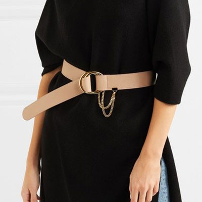 [UNISEX][Real leather]TWO-RING CHAIN LEATHER BELT(2color)