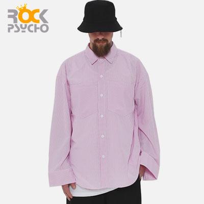 【ROCK PSYCHO】OVERSIZE STRIPE SHIRTS -pink
